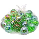Discount4product Glass Swirl Marbles (Multicolour)-Pack of 25