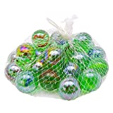 Discount4product 25 Pcs Colorful Decoration Shooter Marbles Boulder Glass Swirl Assortment Game