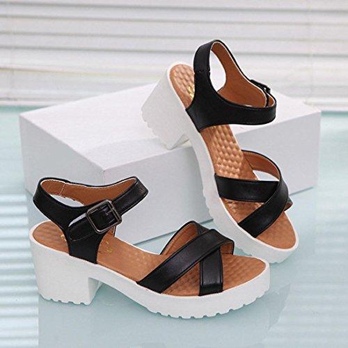 Transer® Damen Kitten-Heel Sandalen Einfach PU-Leder+Gummi Beige Blau Schwarz Weiß Sandalen (Bitte achten Sie auf die Größentabelle. Bitte eine Nummer größer bestellen) Schwarz