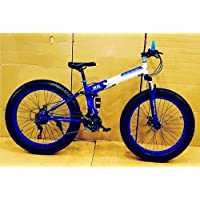 Saima Enterprises Foldable Sports Cycle with Fat Tyres 21 Derailleurs/Fat Bicycle with Dual Disc Brakes (Blue)