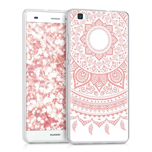 Kwmobile huawei p8 lite (2015) cover - back case per huawei p8 lite (2015) custodia in silicone tpu trasparente rosa/bianco