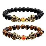 Jlbuay Herren-Armband, Gothic-Stil, Drache mit gold-Ohrringe, Schwarz und Braun, 2Stück, Tigerauge, Achat, elastisch, mit Perlen-Armband