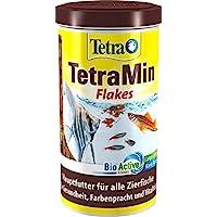 TetraMin (Hauptfutter für alle Zierfische in Flockenform, für ein langes und gesundes Fischleben und klares Wasser, plus Präbiotika für verbesserte Körperfunktionen und Futterverwertung), 1 L Dose