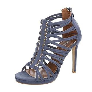 Ital-Design High Heel Sandaletten Damen-Schuhe High Heel Sandaletten Pfennig-/Stilettoabsatz High Heels Reißverschluss Sandalen & Sandaletten Blau, Gr 39, Ne02P-