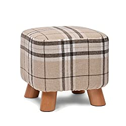 UUSSHOP Square Wooden Wood Support Upholstered Footstool Ottoman Pouffe Chair Stool Fabric Cover 4 Legs and Removable Linen Cover (Tartan)