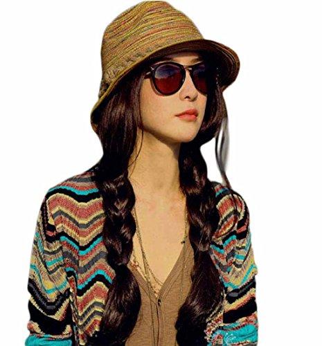 Ularma 2016 Verano otoño moda mujer paja sombrero Color rayas playa sombrero plegable sombrero (Multicolor)