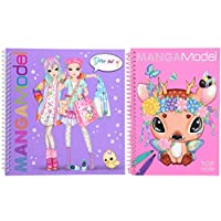 2 x Top Model Manga Books - Pocket Colouring and Dress Me Up Sticker