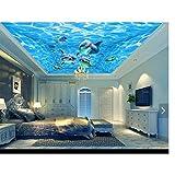 Pbldb Unterwasserwelt Marine 3D Fototapete Benutzerdefinierte 3D Deckentapete Wandbilder Blaue Wasserlinien Marine Dolphins Deckentapete 3D Wohnzimmer Tapete-400X280Cm