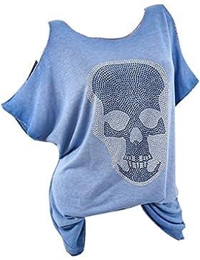 Hibote Blusas de Las Mujeres del Verano Camisa de Blusa de Hombro Frío de Manga Corta con Estampado de Cráneo...
