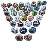 OMG-Deal Lot de 15 boutons de porte en céramique Motif fleurs vintage