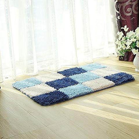 fanjow® Mikrofaser Bereich Geometrische Accent Shag Teppich Checker Design rutschfestem waschbar modernen Shaggy Teppich Bereich Teppich Fußmatte für Schlafzimmer, Bad, Polyester-Mischgewebe, blau, (Dark Pink Bereich Teppich)