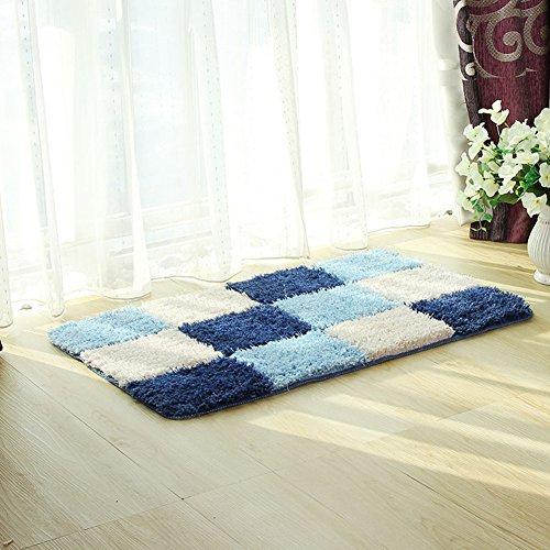 fanjow® microfibra alfombra geométrico Accent Shag alfombra de rombos diseño antideslizante lavable moderno Shaggy área alfombra alfombra para dormitorio, baño, poliéster y mezcla de poliéster, azul, 60*90cm(24'*35')