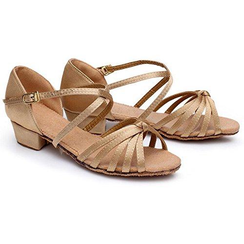 Eastlion Ballsaal Salsa Tango Schuhe Latin Dance Schuhe Tanz Sandalen für Frauen und Mädchen Praxis Beige