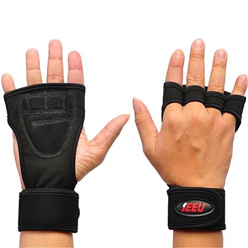 SEEU Herren Gewichtheben Handschuhe, Schwarz, M (Slip Hand Leder Genäht)
