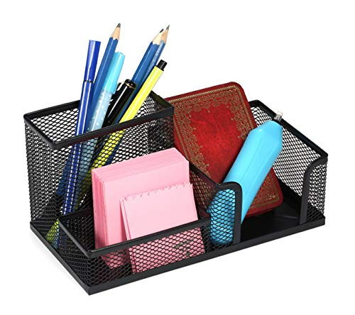 TULMAN 3 Compartment Metal Mesh Desk Organizer for Office Pen Pencil Stand Ruler Visiting Card Sticky Notes Holder - Black