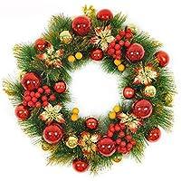 50 cm Coronas Navideñas Decoración de Navidad, Colgando Guirnaldas de Ventana, Puntales,Plástico Corona Adorno de Navidad,Fiesta,Boda (Rojo+Verde)