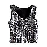 LINNUO Pailletten Top Damen Ärmellos T-Shirts Casual Glitzernd Bluse Glänzend Oberteile Blingbling Weste Party Clubwear (Silber,One Size)