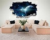 Weltraum Erde Space Weltall Galaxy Planeten 3D Look Wandtattoo 70 x 115 cm Wand Durchbruch Wandbild Sticker Aufkleber DesFoli © C225