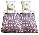 Leonado Vicenti - 4teilig Bettwäsche 100% Baumwolle 135x200 Winter Fein Biber Garnitur Schlafzimmer Set Kissen Bezug Decke mit Reißverschluss (Flieder Wende 8572-324, 135 x 200 cm)