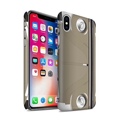 STUFF4 Matte Snap-On Hülle / Case für Apple iPhone X/10 / Leuchtend Orange Muster / Retro Beetle Kollektion Sahara Beige