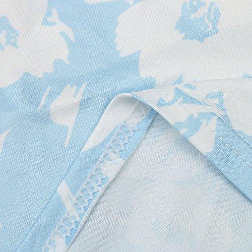 Longra Donna Poliestere senza stampa senza maniche con stampa floreale Blu