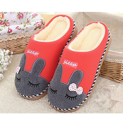Pantofole In Cotone Invernale Saguaro Peluche Calore Morbide Pantofole Pantofole Casa Antiscivolo A Casa Con Cartoon Per Uomo Donna Rosso