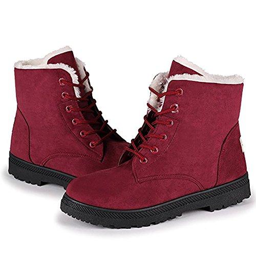 Wicky LS Damen Winter Worker Boots Outdoor Stiefeletten Warm Gefüttert Sneaker (41, Rot)