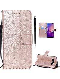 3a5f2a8fad Cover per Samsung Galaxy S10 Plus [Non per S10], Hancda Custodia Cover Flip  Case Portafoglio Magnetica Libro Pelle Protettiva con…