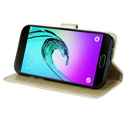 Coque Samsung A5 (2017) Anfire Fleur Motif Peint Mode Coque PU Cuir pour Galaxy A5 (2017) Etui Case Protection Portefeuille Rabat Étui Coque Housse pour Samsung Galaxy A5 (2017) SM - A520 (5.2 pouces) Or
