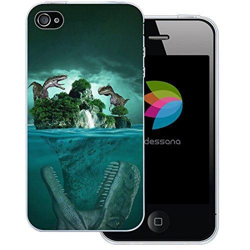 dessana Dinosaurier Welt transparente Silikon TPU Schutzhülle 0,7mm dünne Handy Tasche Soft Case für Apple iPhone 4/4S Dino Urwald (I Phone 4s Schutzhüllen Für Männer)