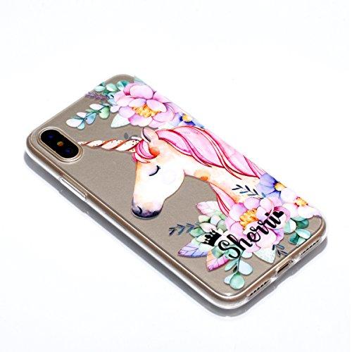 iPhone X Hülle, Voguecase Silikon Schutzhülle / Case / Cover / Hülle / TPU Gel Skin für Apple iPhone X(Einhorn und Blume) + Gratis Universal Eingabestift Einhorn und Blume