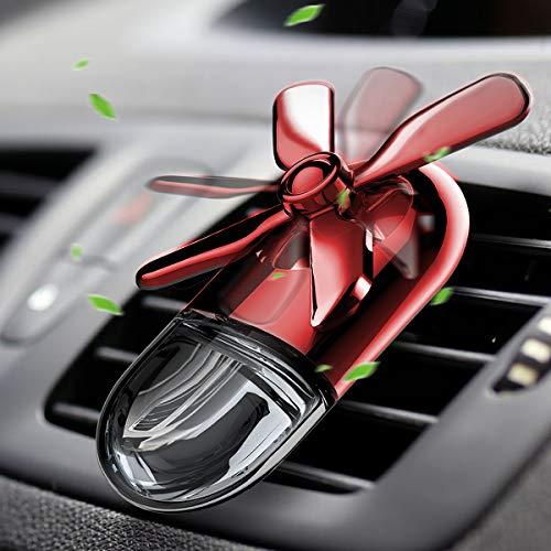 Wilees Auto Aromatherapie ätherisches Öl Diffusor Auto Lufterfrischer Auto Duft Diffusor Mini Fan Auto Dekoration Lüftungsclip verzinkt Legierung mit Einstellbarer Geschwindigkeitsstufe - Rot (Fan Diffusor)