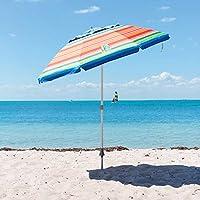 Tommy Bahama 2016 Sand Anchor 7 feet Beach Umbrella with Tilt and Telescoping Pole