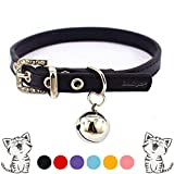 "Leather Cat Collars with Bell Safety Buckle Soft and Adjustable for Girls Kitty, Puppy, Small Dogs Fit 7""-9""/Black"