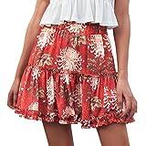 LeeY Frauen Mode Strand Blumen Elastisch Taille Datei Rüsche Kurze Röcke Damen Sommer Beiläufig Blumen Mini Röcke Leicht Täglich Berufung Strand Röcke Party Röcke (Rot, S)