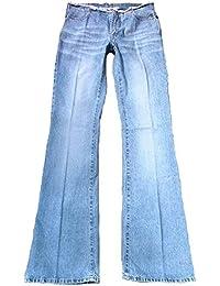 Fornarina Damen Jeans Blau Honk Geile Fransen Beach Club Flirt Designer Optik Rock Star Hose Bootcut Schlagjeans