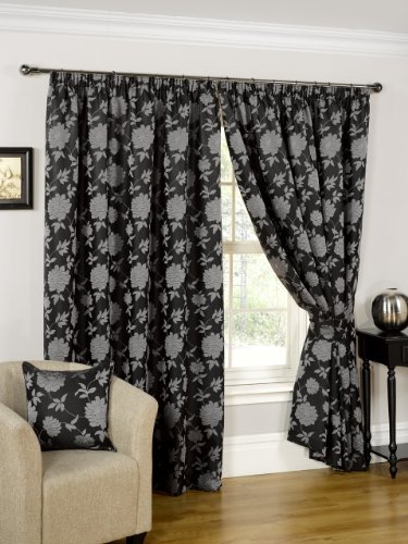 Hamilton McBride Constance Black/Silver Fully Lined Readymade Curtain Pair  66x54in(167x137cm)