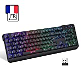 KLIM Chroma Tastatur Gamer AZERTY Wireless – Hohe Leistung – bunte Beleuchtung RGB PC Windows, Mac PS4 [ Neue 2019 Version ]