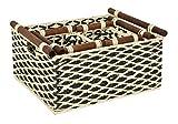 ts-ideen 4er Set Körbe Aufbewahrung Box Spielzeug Frühstückskorb Obst Brot-Korb Füllkorb Leinen und Holz