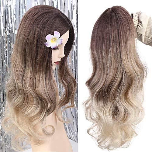HAIRCUBE lange lockige Perücken für Frauen ombre braune bis blonde Perücken mit Pony 24 Zoll