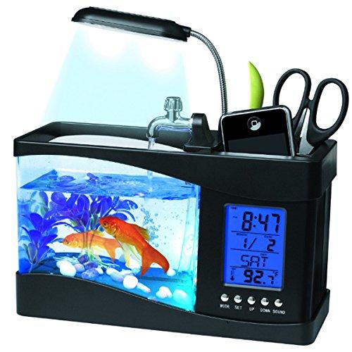 POPOPOP Aquarium LED Licht Lampe Multifunktionale USB LCD Display Desktop mit Kalender/Wecker/Stifthalter (Schwarz)