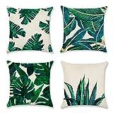 Artscope Lot DE 4 Housse De Coussin, Coton et Lin Décoratif Taie d'oreiller Canapé Voiture Maison Décor Housses de Coussin 45 x 45 cm (Plantes Tropicales)
