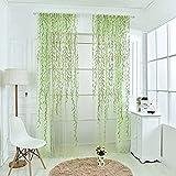 Notdark 1 Stück Transparente Willow Voile Vorhänge Gardine Schal Dekoschal für Schlafzimmer Wohnzimmer Sheer Vorhang 100x200cm/100x270cm (100 * 200cm, Grün)