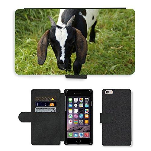Just Mobile pour Hot Style Téléphone portable étui portefeuille en cuir PU avec fente pour carte//m00138386Kid de Chèvre Young Animal Noir et Blanc//Apple iPhone 6Plus 14cm