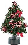 Monsterzeug Leuchtender Mini Weihnachtsbaum, Kleiner Christbaum mit LED-Beleuchtung, LED rot und grün, batteriebetrieben, 23 cm