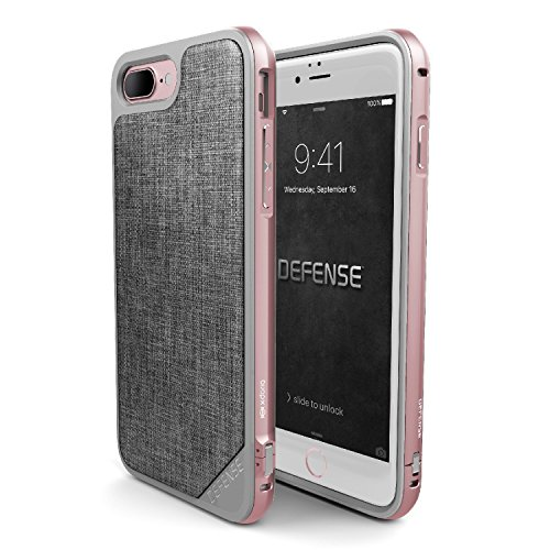 iPhone 7 plus Argument, X-Doria (Defense Lux) Hülle für das iPhone 7 plus , Dual Protection, stoßabsorbierende, Premium-Schutz iPhone 7 Plus-Fall(Bambus) Rose Gold & Grey Stoff