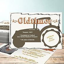 Einladung 80er Party Geburtstag, Bulldog Foto 35 Karten, Horizontal Einfach  148x105 Inkl. Weiße