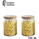 Sanjeev Kapoor Delight Borosilicate Glass Jar with Wodden Lid, 600 ml, Transparent, Set of 2