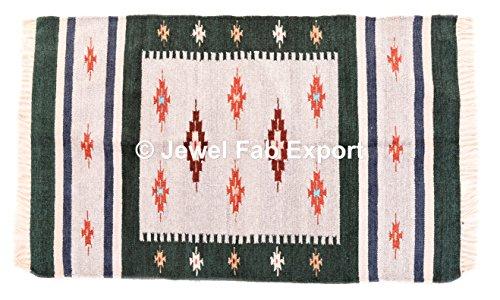 Indian Silk Tischläufer, wendbar, Yogamatte gewebt Bereich Teppich Yoga Matte Teppich Rag Teppiche Meditation Große rechteckige Fußmatte Namaz Teppiche Seide und Baumwolle Grün Bereich Teppiche (5' Jute)