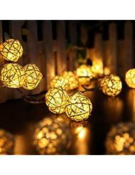 Kobay 10 LED-Farben-Rattan-Kugel-Schnur-feenhafte Lichter für Weihnachtshochzeitsfest-heißes (Beige)
